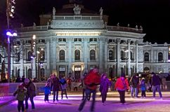 Skating in front of the viennese theatre  Royalty Free Stock Image