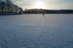 Skating on frosty lake. A single skater on a lake covered with frosty ice Royalty Free Stock Image