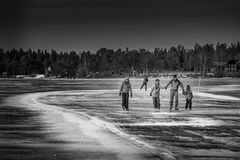 Skating. On the frozen lake in Östersund Royalty Free Stock Photography