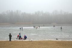 Skating on frozen lake Royalty Free Stock Photography