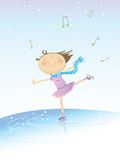 Skating girl. Vector illustration of a little happy girl skating on music on winter background Royalty Free Stock Image