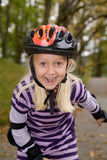Skating girl with helmet Stock Photo