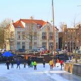 Skating in the harbor Noorderhaven.Netherlands Royalty Free Stock Image