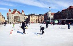 Skating in Helsinki. Skating rink in the center of Helsinki, Finland Stock Photography