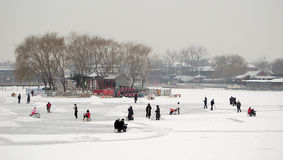 Skating in Houhai lake beijing stock image