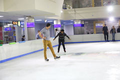 Skating on Ice Stock Image