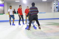 Skating on Ice at mall Stock Image