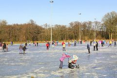 Skating on the ice rink. Paterswolde. March-02-2018. Ice skating on the ice rink in Paterswolde. The Netherlands Stock Photography