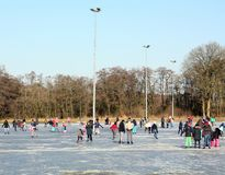 Skating on the ice rink. Paterswolde. March-02-2018. Ice skating on the ice rink in Paterswolde. The Netherlands Stock Photo