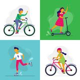 Skating kids. Children ride bike, rollerblades and scooter. Rollerblading childrens, friends riding together vector stock illustration