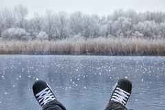 Skating on a lake Stock Photography