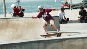 Skating Lip Trick at Venice Beach Skate Park, Super Slow Motion