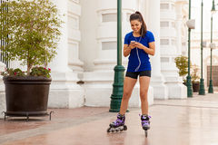 Skating and listening to music Royalty Free Stock Images