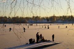 Skating on Norwegian lake Stock Photography