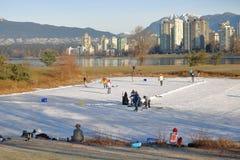 Free Skating On Vancouver`s Vanier Park Pond Stock Photo - 84260940