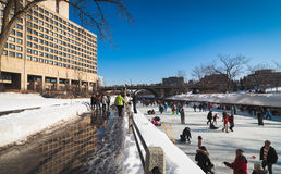 Skating in Ottawa, Canada. The Rideau Canal, also known unofficially as the Rideau Waterway, connects the city of Ottawa, Ontario, Canada, on the Ottawa River to Stock Image