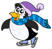 Skating penguin Royalty Free Stock Photos