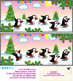 Skating penguins visual puzzle Royalty Free Stock Photo