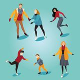 Skating people on ice rink. Set of cartoon illustrations. Winter activities Stock Photo