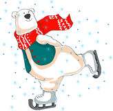 Skating polar bear in red scarf. Christmas background. Skating polar bear on ice Stock Images