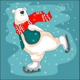 Skating polar bear in red scarf. Christmas background. Winter skating polar bear on ice Royalty Free Stock Photo