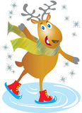 Skating reindeer. A vector illustration of a cartoon skating reindeer Royalty Free Stock Photos