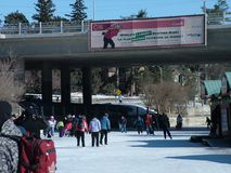 Skating on the Rideau Canal during Winterlude in Ottawa, Canada. Stock Photo
