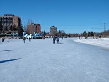 Skating on the Rideau Canal during Winterlude in Ottawa, Canada. Stock Photos