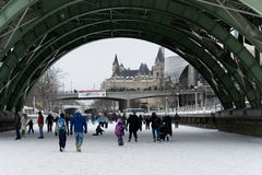 Skating on the Rideau Canal stock image