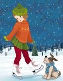 At skating rink. Vector illustration of a little girl with dog at skating rink Stock Photos