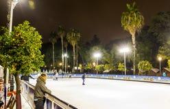 Skating rink at Christmas fair in Sevilla, Spain royalty free stock photos