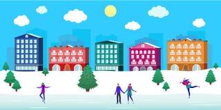 Skating rink city street Christmas square, people, winter view, buildings, cute cozy retro houses neighborhood, snow. vector illustration