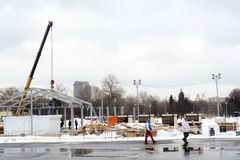 Skating rink dismantling in Gorky Park Stock Photo