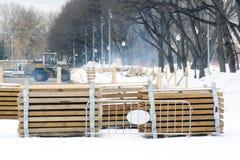 Skating rink dismantling in Gorky Park Stock Photos