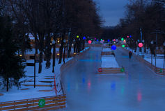 Skating rink in Moscow park. The biggest outdoor skating rink of Moscow is ready to open Royalty Free Stock Photography