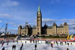 Skating rink opens on Parliament Hill. Ottawa, Canada - December 8, 2017:  The temporary skating rink erected on Parliament Hill as part of the Canadian 150th Stock Images
