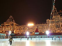 Skating-rink on red square in moscow Stock Photos