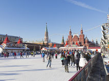 The skating rink on Red Square Royalty Free Stock Image