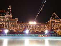 Skating-rink on red square at night Stock Photos
