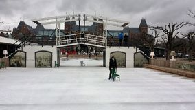 Skating rink with rijksmuseum in the background in amsterdam holland Stock Photo