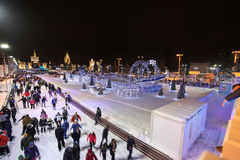 Skating Rink in VVC (former HDNH) on Christmas and New Year. Moscow Royalty Free Stock Photos