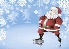 Skating Santa. Winter background with cartoon skating Santa Claus, snowflakes and fir trees Stock Photo