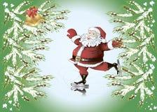 Skating Santa Claus. Christmas background with cartoon skating Santa Claus, fir tree branches and  bells Stock Photos