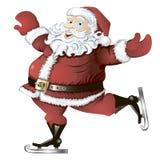 Skating Santa Claus isolated. Isolated vector cartoon illustration of skating Santa Claus Royalty Free Stock Image