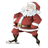 Skating Santa isolated. Isolated illustration of cartoon skating Santa Claus Stock Photo