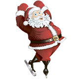 Skating Santa in pose isolated Royalty Free Stock Photo