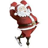 Skating Santa in pose isolated Royalty Free Stock Photo