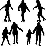 Skating silhouette vector. Skating as a pair and single silhouette vector Royalty Free Stock Images