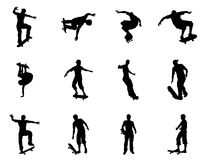 Skating skateboarder silhouettes Royalty Free Stock Photo