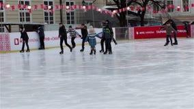 Skating on skates in winter stock video